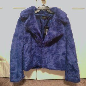 NWT Boohoo Luxe Faux Fur Coat- Dark Blue